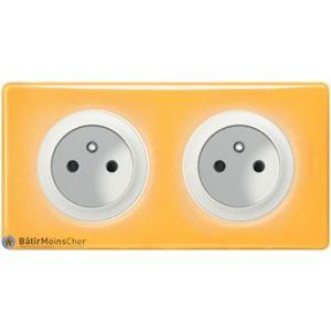 Double prise à puits Céliane blanc - Plaque Today jaune