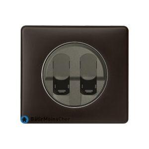 Double prise RJ45 grade 3 Céliane graphite - Plaque Basalte
