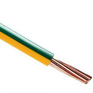 Fil électrique rigide H07VR 25mm² vert/jaune - 1 mètre