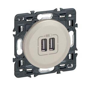Prise double chargeur USB à griffes Céliane titane