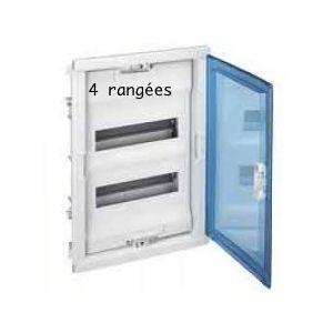 Coffret encastré 4 rangées porte transparente