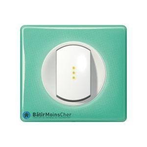 Poussoir à voyant lumineux Céliane blanc - Plaque 50's turquoise