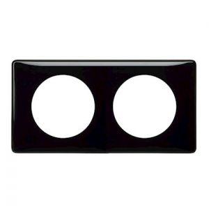 Plaque 2 postes Céliane laqué noir