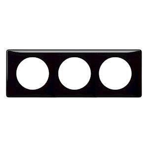 Plaque 3 postes Céliane laqué noir