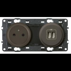 Prise + double chargeur USB Céliane graphite