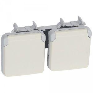 Prise double horizontal Plexo composable - Blanc