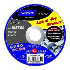 5 disques à tronçonner métal + inox diam. 125