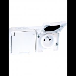 Double Prise de courant 16A oxxo complet saillie - Blanc