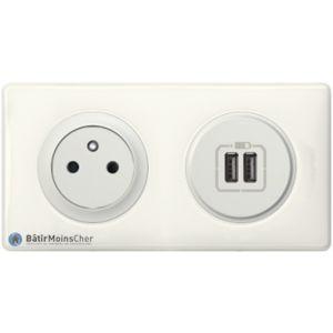 Prise 2P+T + chargueur USB Céliane blanc - Plaque Yesterday