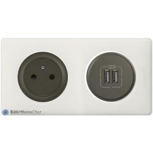 Prise Surface + double chargeur USBCéliane graphite - Plaque Craie