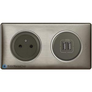 Prise + double chargeur USB Céliane graphite - Plaque Tungstène