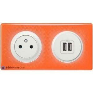 Prise Surface + prise double chargeur USB Céliane blanc - Plaque 70's orange