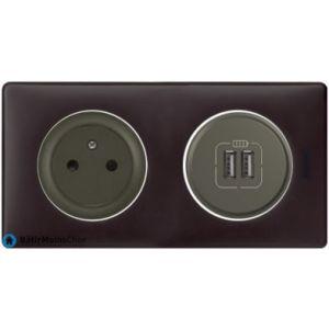 Prise + double chargeur USB Céliane graphite - Plaque Basalte