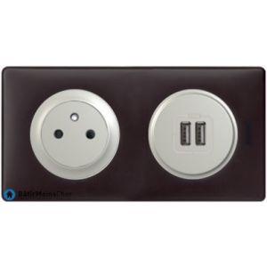 Prise Surface + double chargeur USB Céliane titane - Plaque Basalte