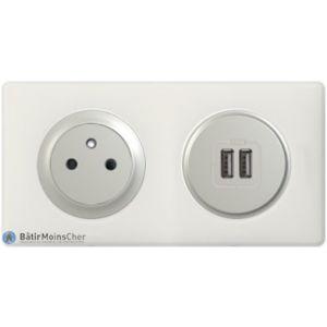 Prise Surface + double chargeur USB Céliane titane - Plaque Craie