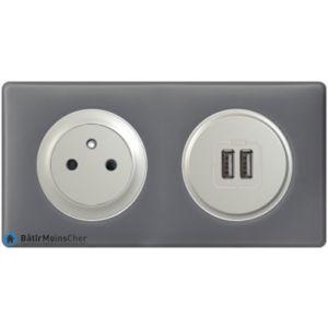 Prise Surface + chargeur USB Céliane titane - Plaque Schiste