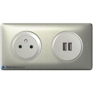 Prise + double chargeur USB Céliane Titane - Plaque Titane