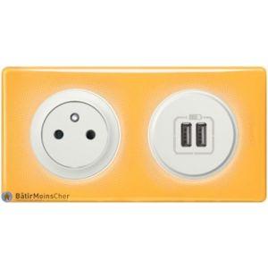 Prise Surface + Double chargeur USB Céliane blanc - Plaque Today jaune