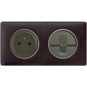 Prise Surface + RJ45 Céliane graphite - Plaque Basalte