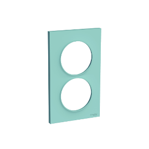 Plaque 2 postes Odace Styl entraxe 57mm - Cyan
