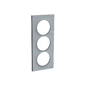 Plaque 3 postes Odace Styl entraxe 57mm - Gris pierre