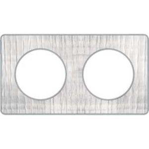 Plaque 2 postes Odace Touch - Aluminium brossé croco