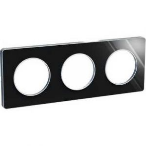 Plaque 3 postes Odace Touch - Aluminium brillant fumé