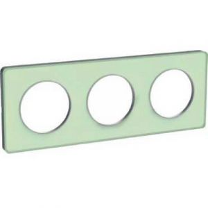 Plaque 3 postes Odace Touch - Translucide vert