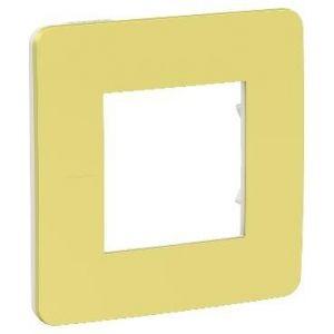 Unica Studio Color - plaque de finition - Vert acidulé liseré Blanc - 1 poste