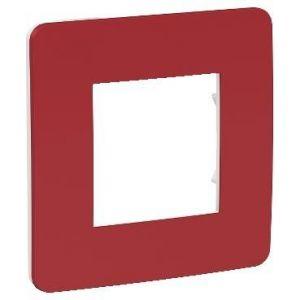 Unica Studio Color - plaque de finition - Rouge cardinal liseré Blanc - 1 poste