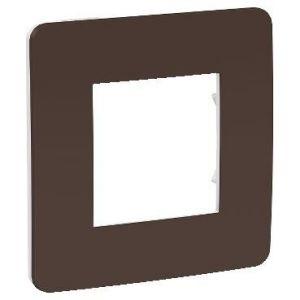 Unica Studio Color - plaque de finition - Chocolat liseré Blanc - 1 poste
