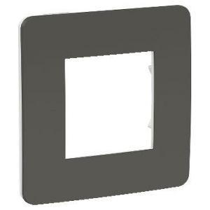 Unica Studio Color - plaque de finition - Gris foncé liseré Blanc - 1 poste