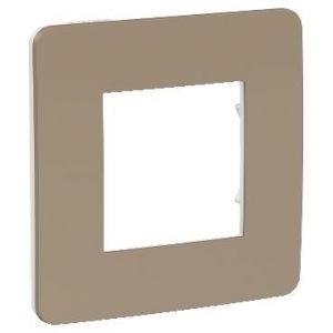 Unica Studio Color - plaque de finition - Taupe liseré Blanc - 1 poste
