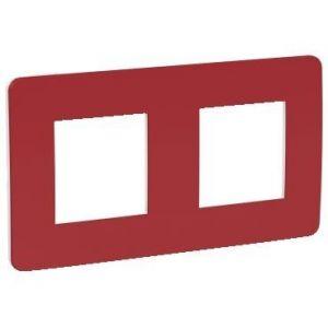 Unica Studio Color - plaque de finition - Rouge cardinal liseré Blanc - 2 postes