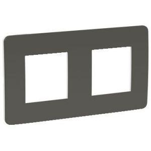 Unica Studio Color - plaque de finition - Gris foncé liseré Blanc - 2 postes
