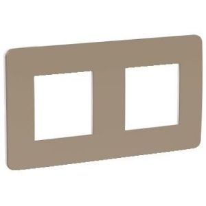 Unica Studio Color - plaque de finition - Taupe liseré Blanc - 2 postes