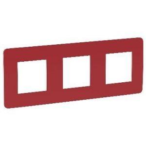 Unica Studio Color - plaque de finition - Rouge cardinal liseré Blanc - 3 postes