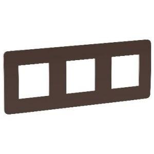 Unica Studio Color - plaque de finition - Chocolat liseré Blanc - 3 postes