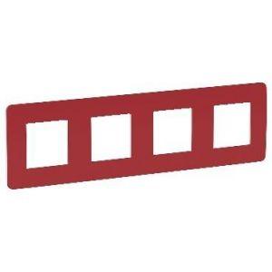 Unica Studio Color - plaque de finition - Rouge cardinal liseré Blanc - 4 postes
