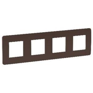 Unica Studio Color - plaque de finition - Chocolat liseré Blanc - 4 postes