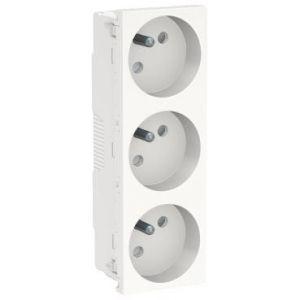 Unica - prise triple 2P+T - FR - 45° - Blanc - méca seul