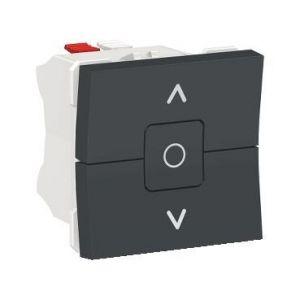 Unica - interrupteur volet-roulant - 3 touches - 6A - 2 mod - Anthra - méca seul