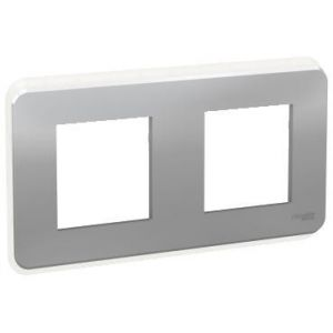 Unica Pro - plaque de finition - Alu - 2 postes