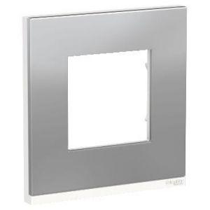 Unica Pure - plaque de finition - Aluminium liseré Blanc - 1 poste