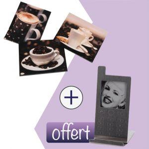 Lot de 3 toiles café + Cadre photo portable Offert