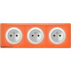 Triple prise à puits Céliane blanc - Paque 70's orange