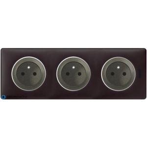 Triple prise à puits Céliane graphite - Plaque Basalte