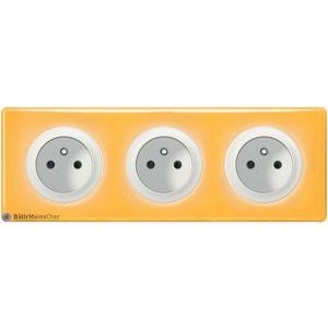 Triple prise à puits Céliane blanc - Plaque Today jaune