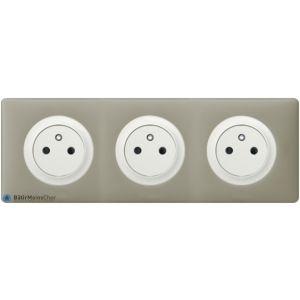 Triple prise de courant Surface Céliane blanc - Plaque Argile