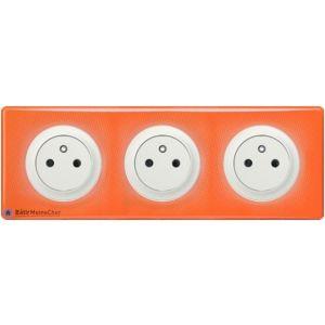 Triple prise Surface Céliane blanc - Plaque 70's orange